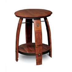 American made Barrel Side Table features a stamped wine barrel top, wine barrel stave legs, heavy wrought iron support rings, and a recycled wood shelf.