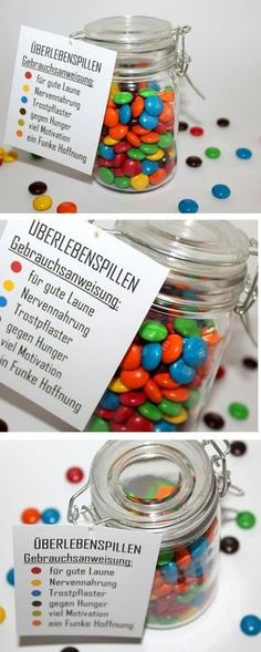 The perfect gift idea for any occasion: DIY Mason Jar Survival Pills + {with Free Printable} - Meins - Geschenke Cute Diy Crafts, Food Crafts, Gift Crafts, Jar Crafts, Pot Mason Diy, Mason Jars, Love Gifts, Diy Gifts, Advent Calendar Gifts