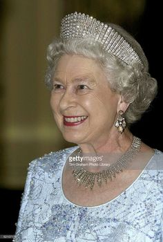 Queen Elizabeth wearing both the diamond kokoshnic and the fringe as a necklace