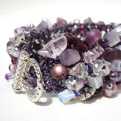 Amethyst Bracelet Fall Fashion Purple Lavender Beaded Cuff hand knit semi precious stone jewelry. 70.00, via Etsy.