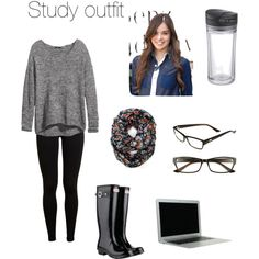 SelfStyle: Study time Leggings, long knit sweater, boots, glasses, print scarf