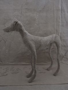 Dogs in Art at the StockBridge Gallery - Vintage Textiles Standing Dog Sculpture, £185.00 (http://www.dogsinart.com/vintage-textiles-standing-dog-sculpture/)