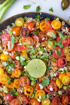 This easy gluten free, vegetarian, and vegan 20-minute Mexican Rice and Bean Skillet is full of fresh and exciting flavors!