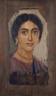 A woman, Roman painting (encaustic on cypress), 2nd century AD, (Milwaukee Art Museum).