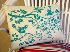 hand printed cushion  - blossom birds in teal blue - striped backing