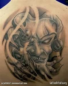 Image titled 'evil jester' posted by Immortal Ink to gallery page 'jason butcher's tattoos' on Joker Drawings, Tattoo Drawings, Love Tattoos, Body Art Tattoos, Calf Tattoos, Evil Clown Tattoos, Religious Tattoo Sleeves, Jester Tattoo, Evil Jester