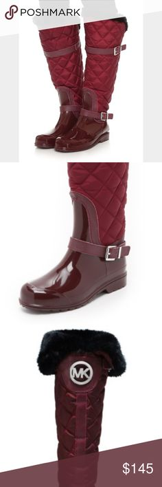 NWT Michael Kors Rain/ Snow Boots NWT MK Michael Kors Rain/ Snow boots. These boots are amazing and so versatile! They can be used as every day riding style boots. They can be rain or snow boots as well! The inside has fur for warmth (the fur is black). The color is maroon/wine. They have beautiful silver belt hardware. There is an MK medallion on the back of the boots. Size 7. Retails $198.00. Check out my other listings for bundle deals! KORS Michael Kors Shoes Winter & Rain Boots