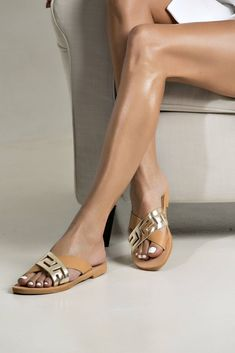 """Chic leather sandals """"Cynthia"""" with a gold nude meander strappy. The ideal shoe for your vacation! (Available in different colors)"""