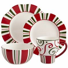 """Christmas Stripes Dinnerware from Pier One.  Fun! And great for mix-n-match.  I love the swirls on the mug.  Unfortunately, not sold as a set.  Dinner 11"""", $8.00, Salad 9"""", $7.00, Bowl 6"""" x 3"""" high, $7.00, Mug 5-3/4"""" x 4-1/2"""" tall, $7.00.  Dishwasher and microwave safe. - pinned Dec 21, 2013"""
