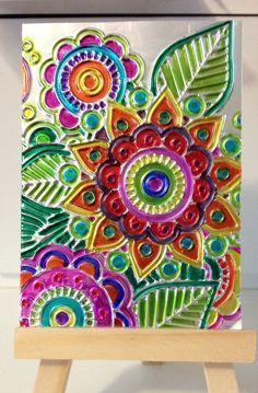 Tin Foil Art, Aluminum Foil Art, Tin Art, Aluminium Foil, Sharpie Zeichnungen, Feuille Aluminium Art, Sharpie Drawings, 6th Grade Art, Ecole Art