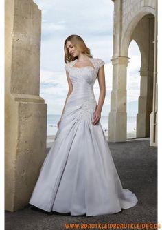 Preiswerte Brautkleid aus Satin A-Linie mit kurz Ärmel 2012