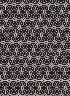 Navy Asanoha Hemp Leaf Japanese cotton fabric for by KimonoARTUK, £12.00