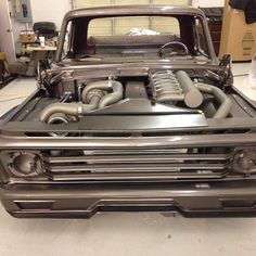 """""""Hot Wheels - Man the @weavercustoms team are killing it with this Autorama build, Ford F100 with a 1000hp Cummins power plant, not sure but I think it's…"""""""