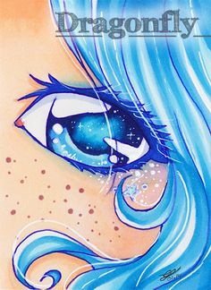 """#66 """"In her Eyes""""  Illustration, Copic Art, Comic, Manga, ACEO Card / Kakao-Karte by Dragonfly Artworks"""
