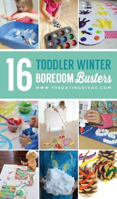 Boredom Busters 16 Toddler Winter Boredom Busters- Lots of ideas for things to do inside with kids on those snowy winter Toddler Winter Boredom Busters- Lots of ideas for things to do inside with kids on those snowy winter days! Games For Toddlers, Craft Activities For Kids, Infant Activities, Toddler Winter Activities, Indoor Toddler Activities, Family Activities, Learning Activities, Toddler Play, Toddler Learning