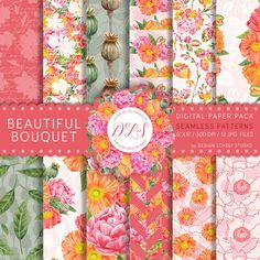 """Floral Digital Paper: """"Beautiful Bouquet"""" Poppies Background Pink Peonies…"""