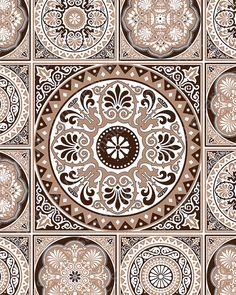 Brown Printable Tiles Decorative Art. Instant download от Especia