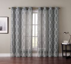 Amazon.com : Single (1) Window Curtain Panel Silver Gray Sheer Embroidered Moroccan Design : Everything Else  For Entryway windows