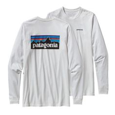 Patagonia Longsleeve P 6 Logo Tee: Patagonia's iconic logo on their American grown organic cotton tee inwhite. Ringspun, long-staple organic cotton for softness and durability Screen-print inks are PVC- and phthalate-free Taped shoulder seams for comfort and fit retention U.S.-grown organic cotton is sourced from member farms of the Texas Organic Cotton Marketing Cooperative Patagonia original art 5.4-oz 100% organic cotton. Fabric is bluesign™ approved 198 g (7 oz) Made in Mexico.