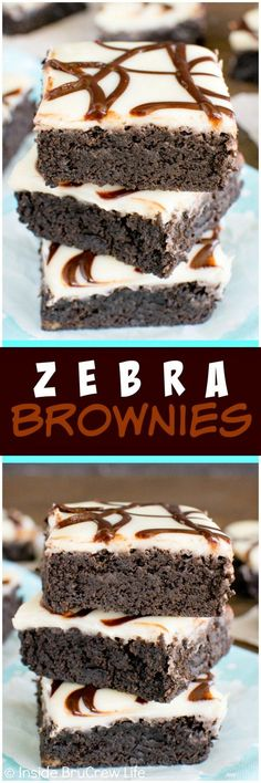 Zebra Brownies - white chocolate glaze and chocolate stripes make these fudgy homemade brownies disappear!  Awesome dessert recipe!: http://insidebrucrewlife.com/2016/05/zebra-brownies/