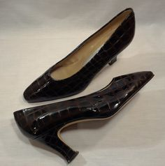 Sz 8 Womens Vtg Bandolino Amica Dark Brown Patent Croc Pumps French Heels Spain