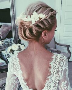 French Braided Updo Flower Hairpiece Wedding Hairstyle