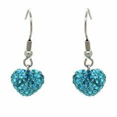 Pandora Turquoise Heart Shamballa Earrings 80647 #designerjewelry
