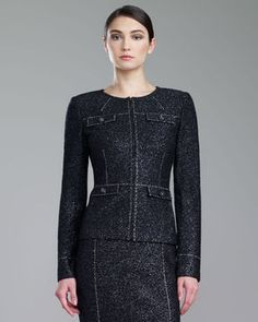 St. John Collection Couture Shimmer Tweed Jacket, Caviar