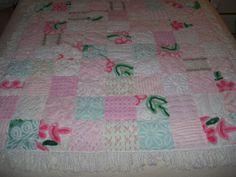 Vintage Chenille Bedspread Quilt Patchwork GirlyGirl Snuggle Soft Vintage