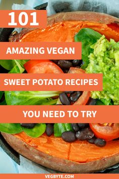 Looking for vegan sweet potato recipes? Check out this ultimate collection of 101 vegan sweet potato recipes! Best Vegan Sweet Potato Recipes | Healthy Sweet Potato Recipes | Vegan Diet Recipes | → VegByte.com | #vegansweetpotatorecipes #bestsweetpotatorecipes #veganfoodrecipes