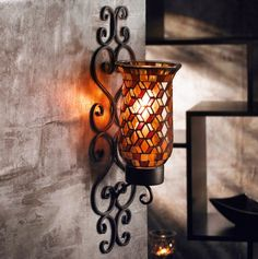 Mosaic Glass Wall Sconce - Elegant Candle Decor - Events #KBHome