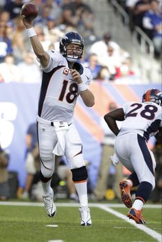 24d072085 Denver Broncos quarterback Peyton Manning (18) throws a pass during the  first half of