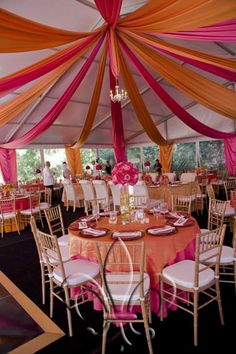 This structure tent was draped with hot pink and orange satin fabric. Great colors to set the mood for a bright and fun party, baby or bridal shower celebration or event! Orange And Pink Wedding, Rose Orange, Tangerine Wedding, Fuschia Wedding, Rainbow Wedding, Tent Decorations, Wedding Decorations, Deco Floral, Wedding Reception