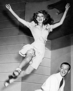 such childlike joy! Rita Hayworth jumping