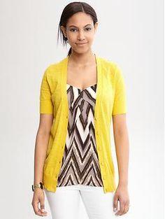 Love the yellow   Short-sleeve slub cardigan | Banana Republic