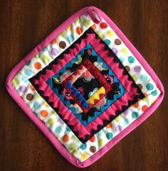 Patchwork Potholder Pink  Scrap Cotton Boho 7.5 by AbbieTabby, $6.00