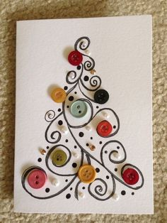 Christmas crafts, winter outfits and other popular ones - DIY Christmas Cards Homemade Christmas Cards, Christmas Art, Christmas Projects, Handmade Christmas, Homemade Cards, Christmas Decorations, Christmas Buttons, Button Christmas Cards, Christmas Ideas