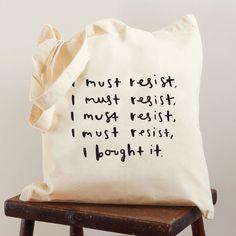 Shopaholic tote bag  screen printed canvas tote by OldEnglishCo