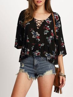 Shop Black Half Sleeve Lace Up Floral Print Blouse online. SheIn offers Black Half Sleeve Lace Up Floral Print Blouse & more to fit your fashionable needs. Floral Tops, Floral Prints, Fashion Vestidos, Moda Formal, Full Figure Fashion, Bell Sleeve Blouse, Collar Blouse, Black Blouse, Half Sleeves