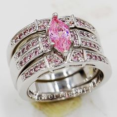 Victoria Wieck Engagement Marquise Cut Pink sapphire Simulated Diamond 14KT White Gold Filled 3 Wedding Band Ring Set Sz 5-11 - http://www.aliexpress.com/item/Victoria-Wieck-Engagement-Marquise-Cut-Pink-sapphire-Simulated-Diamond-14KT-White-Gold-Filled-3-Wedding-Band-Ring-Set-Sz-5-11/32337582245.html