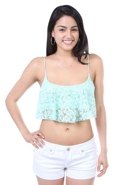 Deb Shops mint ruffle lace spaghetti strap crop top