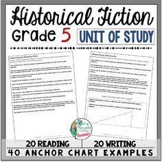 Historical Fiction Reading and Writing Unit: 40 Lessons with CCSS!! Teach Common Core State Standards in Historical Fiction writing and reading with this month long unit of study. It includes 40 lessons all linked to CCSS, chart examples, and much more!