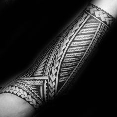 Black Ink Guys Polynesian Forearm Tribal Tattoo Inspiration