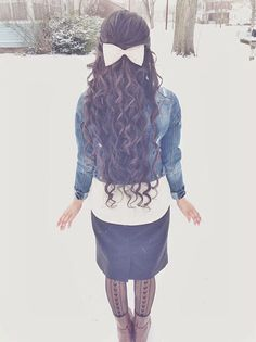 Everything about this look. Hair, bow, jacket, skirt, boots, tights...♡ everything!