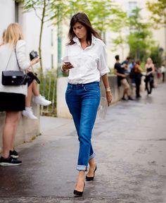 Crisp white button-down, blue jeans, and pumps: the ultimate everyday uniform. #EmmanuelleAlt #streetstyle