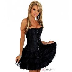 Black Ruffled Corset Dress by Daisy Corsets DA-562 from Gothic Plus
