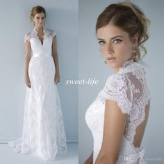 2015 Sexy Lace Wedding Dresses High Neck Open Back Illusion Neckline Sash Short Sleeve A-Line Bridal Gowns Dress for Church Beach Wedding Online with $139.33/Piece on Sweet-life's Store   DHgate.com