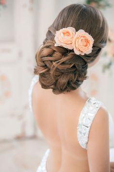 White and Gold Wedding. Bridesmaid Hair. Wedding Hairstyle Low updo with rose flowers. Pretty hairstyle for bride or bridesmaids. Perfect with veil