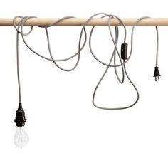 Black & White Zig-Zag Pendant Light Cord Set, swag light to make into light for nightstand