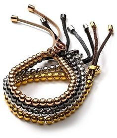 Michael Kors ~ Leather Beaded Bracelet
